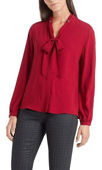Marc Cain Collections Tops Marc Cain Collections Flowing Bow Neck Blouse Burgundy PC 51.15 W01 izzi-of-baslow
