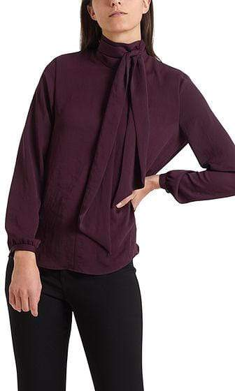 Marc Cain Collections Tops Marc Cain Collections Flowing Bow Neck Blouse Wine 298 PC 51.31 W39 izzi-of-baslow