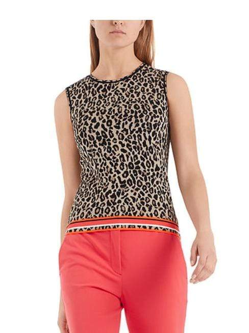 Marc Cain Collections Tops Marc Cain Collections Jacquard-knit Top Leopard Print NC 61.07 M19 izzi-of-baslow