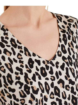 Marc Cain Collections Tops Marc Cain Collections Leopard Print Flared V-neck Top Cuban Sand NC 48.28 J93 izzi-of-baslow