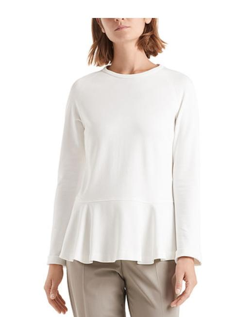 Marc Cain Collections Tops Marc Cain Collections Peplum Top With Flounce Sleeves Off-White NC 48.01 J34 izzi-of-baslow