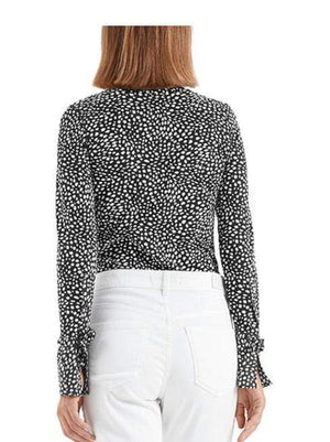 Marc Cain Collections Tops Marc Cain Collections Printed Top Black and White NC 48.18 J79 izzi-of-baslow