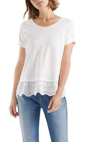 Marc Cain Collections Tops Marc Cain Collections T-shirt with elegant broderie anglaise NC 48.14 J14 izzi-of-baslow