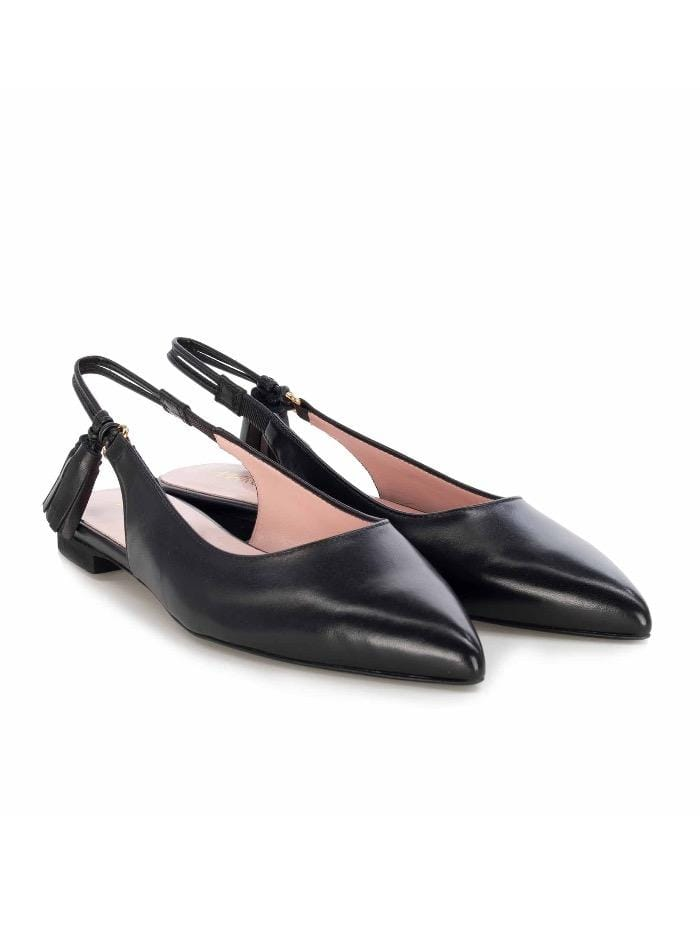 Marc Cain Shoes Marc Cain Black Leather Slingback Flat Pumps QB SF.05 L32 900 izzi-of-baslow