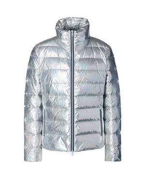 Marc Cain Sports Coats and Jackets 2 Marc Cain Sports Silver Glitter Effect Puffa Jacket MS 12.12 W22 izzi-of-baslow