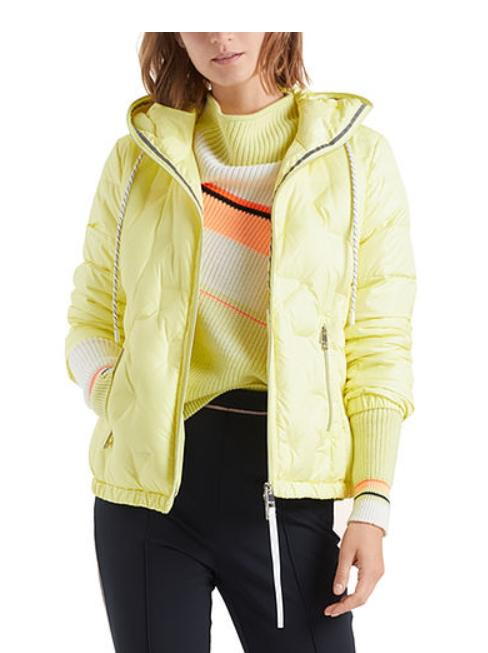 Marc Cain Sports Coats and Jackets Marc Cain Sports Down Jacket With Hood Zip Limelight NS 12.02 W02 izzi-of-baslow