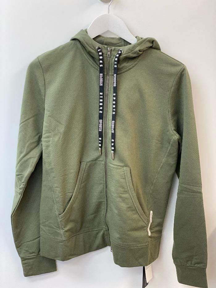 Marc Cain Sports Coats and Jackets Marc Cain Sports Khaki Green Cotton Hoodie Jacket QS 31.31 J44 592 izzi-of-baslow