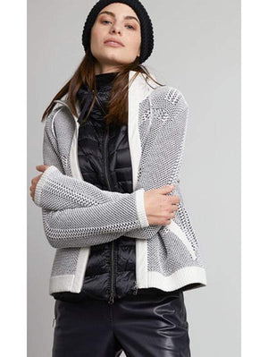 Marc Cain Sports Coats and Jackets Marc Cain Sports Off White and Black Knitted Jacket QS 31.06 M15 910 Y izzi-of-baslow