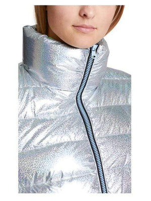 Marc Cain Sports Coats and Jackets Marc Cain Sports Silver Glitter Effect Puffa Jacket MS 12.12 W22 izzi-of-baslow