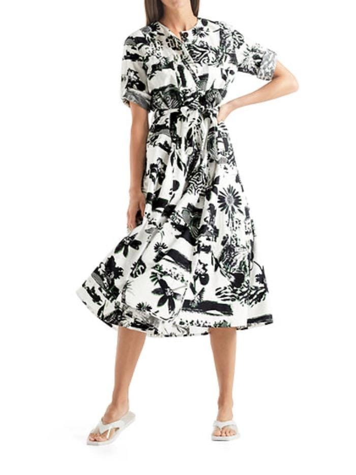 Marc Cain Sports Dresses Marc Cain Sports Black and White Cotton Bahamas Printed Dress QS 21.21 W46 190 izzi-of-baslow