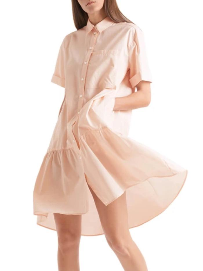Marc Cain Sports Dresses Marc Cain Sports Cotton Dress With Flounced Hem Powder Pink QS 21.24 W30 145 izzi-of-baslow