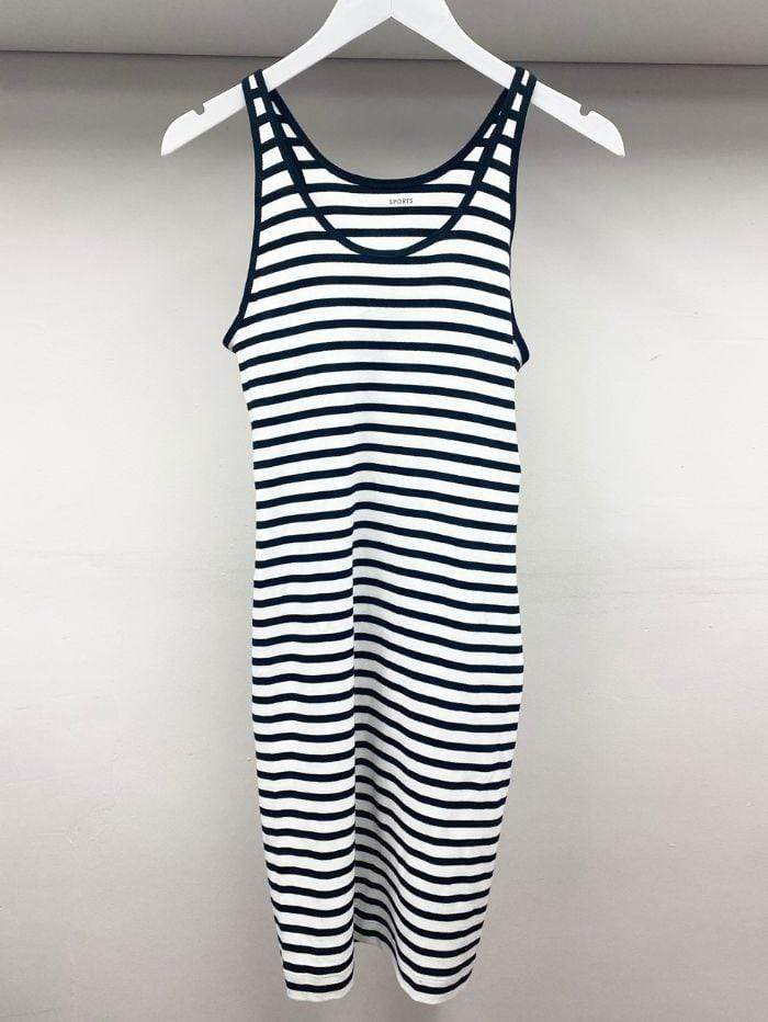 Marc Cain Sports Dresses Marc Cain Sports Stripe Dress Midnight Blue JS 21.25 W19 Col 359 izzi-of-baslow