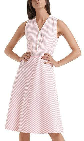 Marc Cain Sports Dresses Marc Cain Sports Striped Summer Pink and White Striped Dress  NS 21.30 W42 izzi-of-baslow