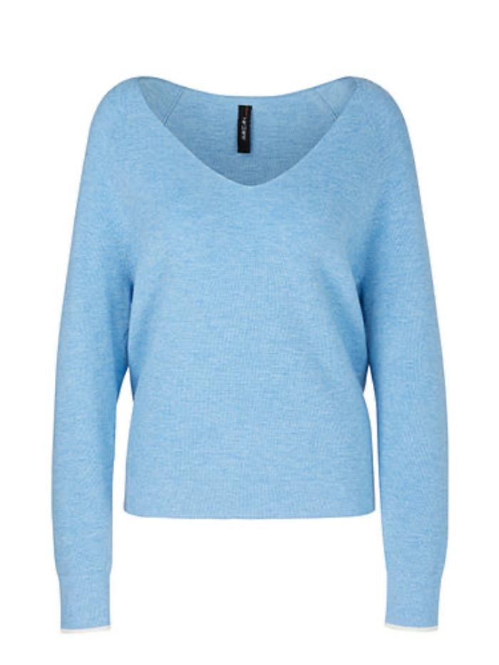 Marc Cain Sports Knitwear Marc Cain Sports Blue Knitted Sweater in a Melange Design PS 41.04 M80 329 izzi-of-baslow