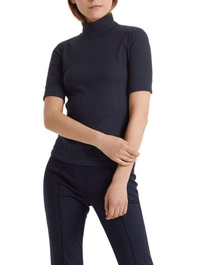 Marc Cain Sports Tops Marc Cain Basic Turtle-neck Top In Ribbed Jersey Navy +E 48.04 J50 izzi-of-baslow