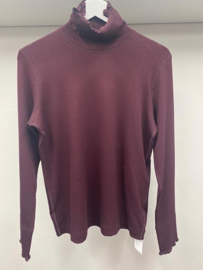 Marc Cain Sports Tops Marc Cain Sports Basic Ribbed Turtle Neck Top Burgundy KS 48.24 J50 295 izzi-of-baslow