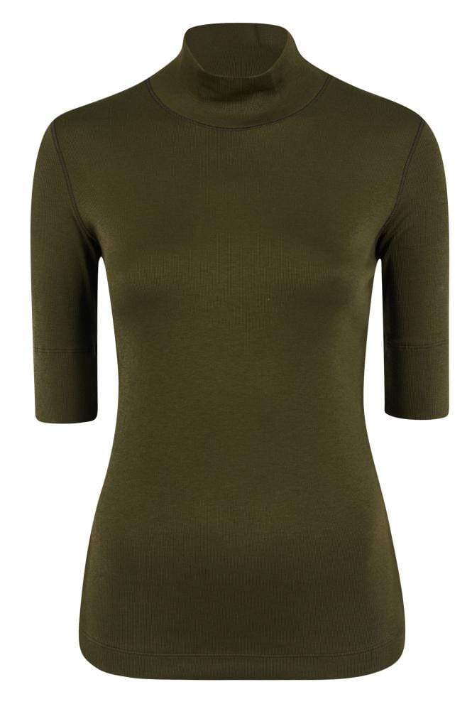 Marc Cain Sports Tops Marc Cain Sports Basic Turtle-neck Top In Ribbed Jersey Moor Khaki MS 48.04 J50 izzi-of-baslow