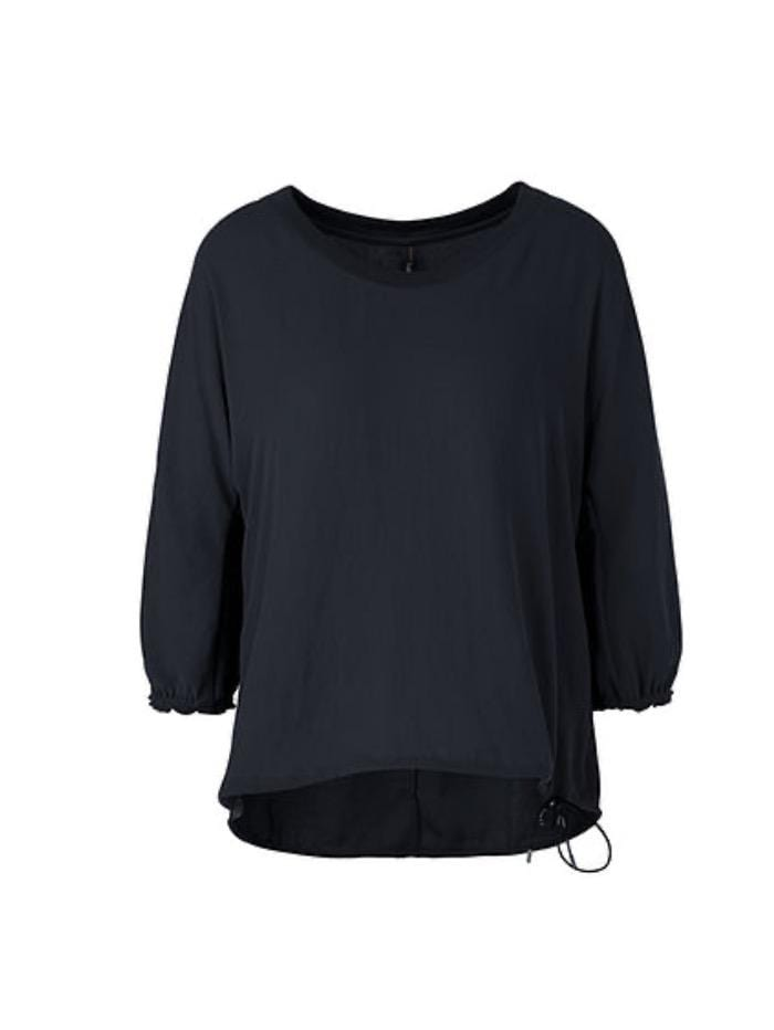 Marc Cain Sports Tops Marc Cain Sports Round Necked Top With Tie Detail Black QS 55.05 W41 900 izzi-of-baslow