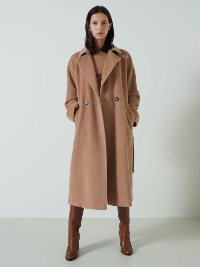 Marella Coats and Jackets 6 / camel Marella Giorgio Camel Pure Wool Double-Breasted Coat izzi-of-baslow