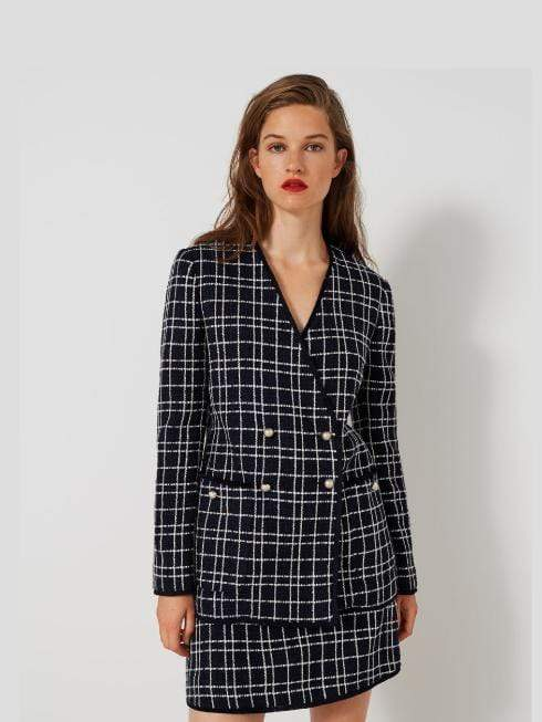 Marella Coats and Jackets Marella Basketweave Jacket Midnight Blue Carato 30411401 izzi-of-baslow