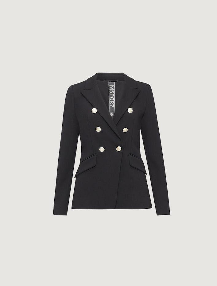 Marella Coats and Jackets Marella Black Double Breasted Didimo Blazer 39160707 izzi-of-baslow