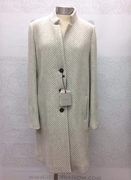 Marella Coats and Jackets Marella Grey and White Striped Wool Coat Grolla 30160197 izzi-of-baslow