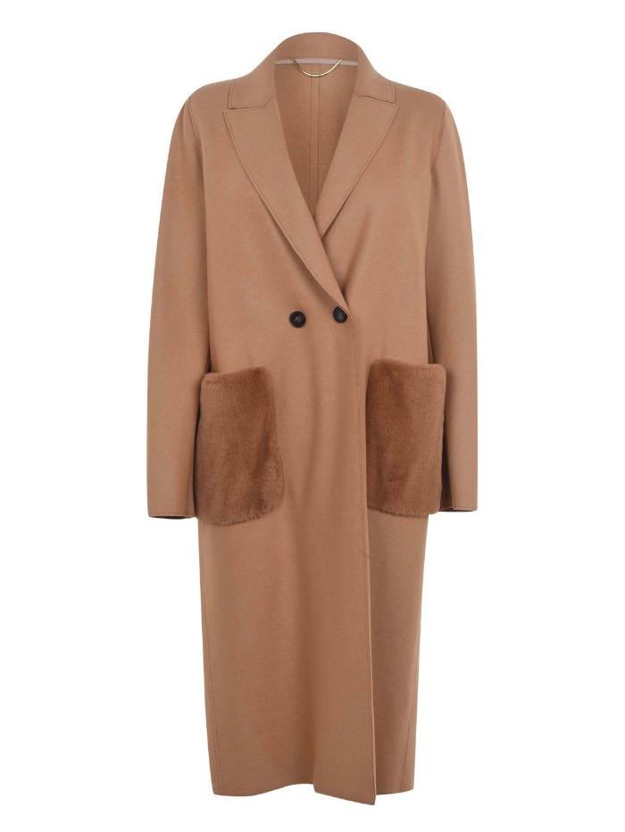 Marella Coats and Jackets Marella Vignola Faux Fur Pocket Coat in Camel izzi-of-baslow