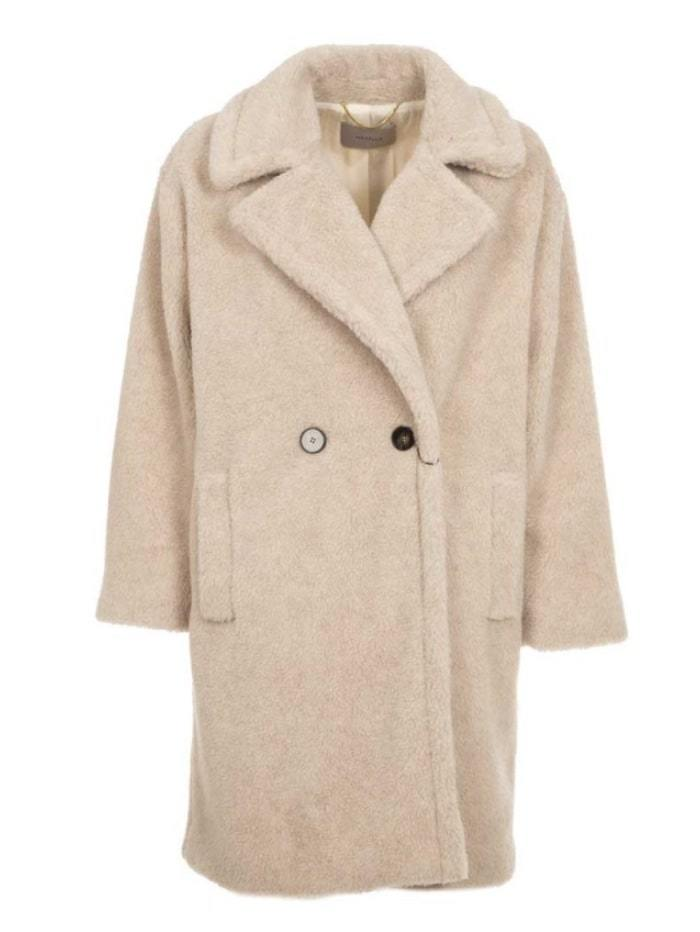 Marella Coats & Jackets beige / 8 Marella Itri Double-Breasted Teddy Coat izzi-of-baslow