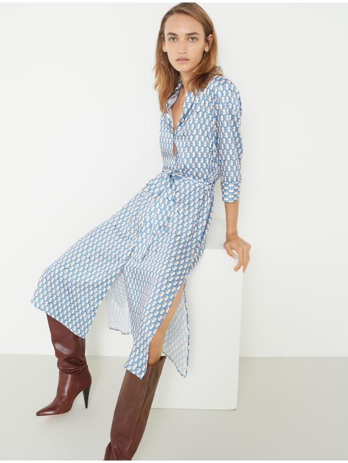 Marella Dress Marella Mendoza Blue Printed Shirt Dress 32263408 izzi-of-baslow