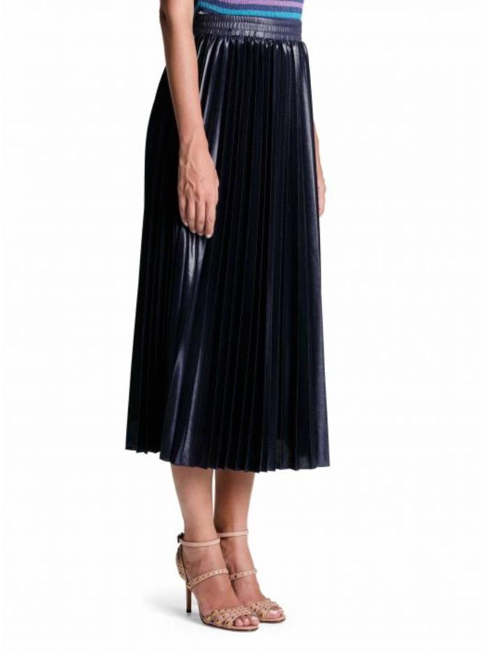 Marella Skirt Marella Tartufo Pleated Metallic Blue Skirt 37710204 izzi-of-baslow