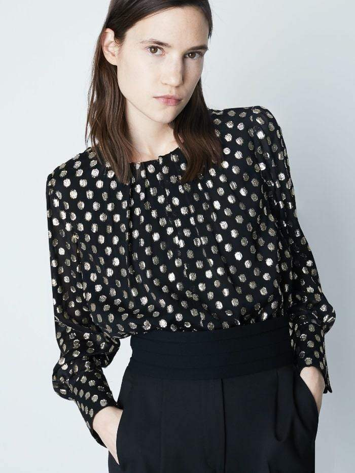 Marella Tops 12 / black Marella Manila Blouse With Lurex Spots izzi-of-baslow
