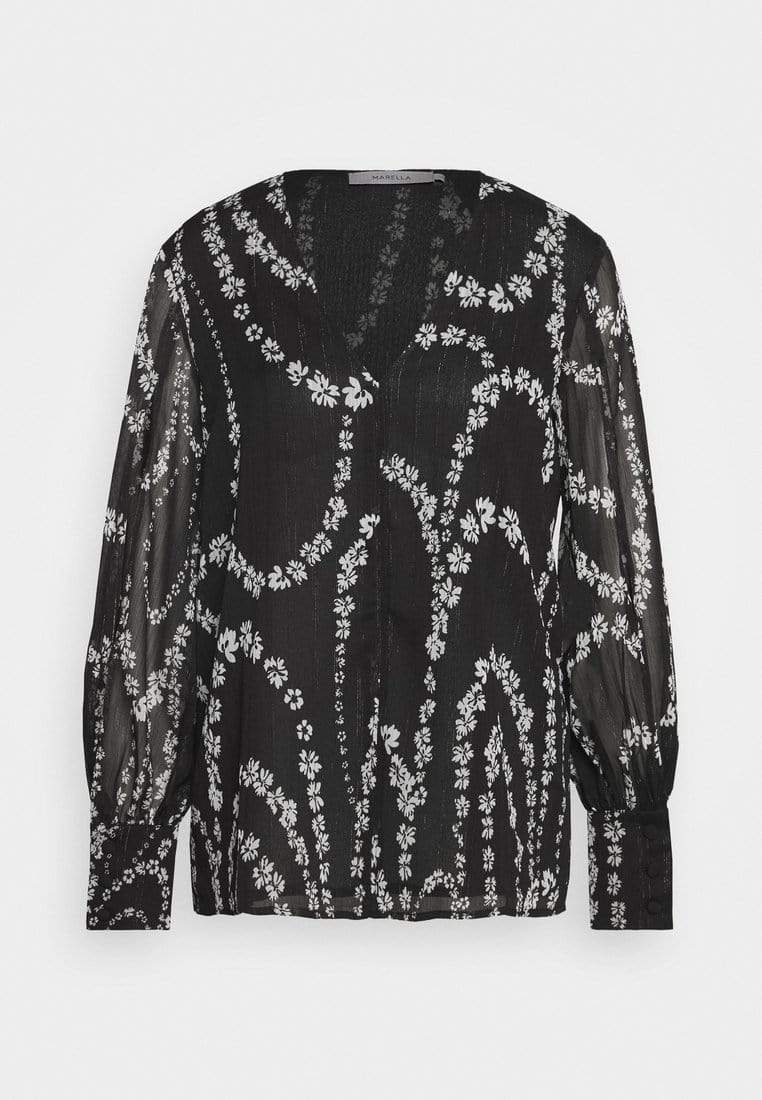 Marella Tops Marella Black and Cream Printed Fieno Blouse izzi-of-baslow