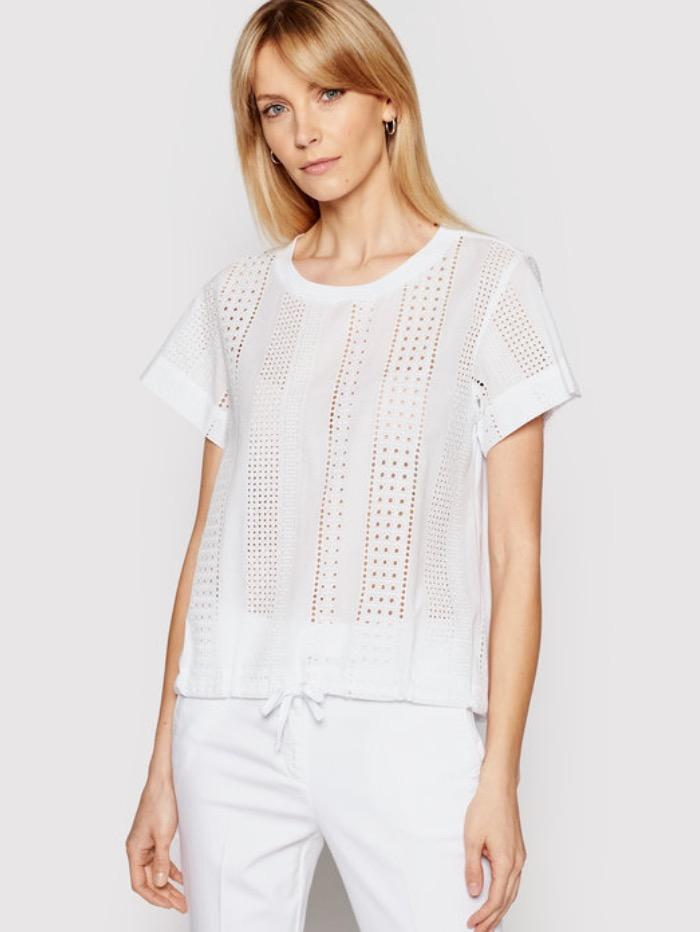 Marella Tops Marella BRUNNER Crochet White T-Shirt 39410812 izzi-of-baslow