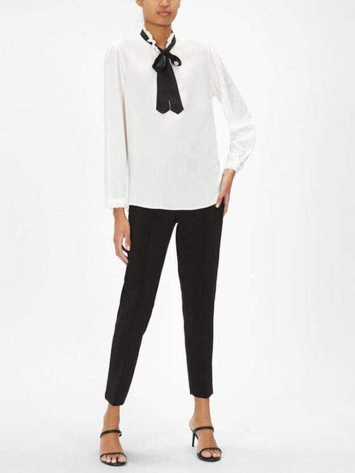 Marella Tops Marella Simca White Blouse With Black Tie Neck izzi-of-baslow