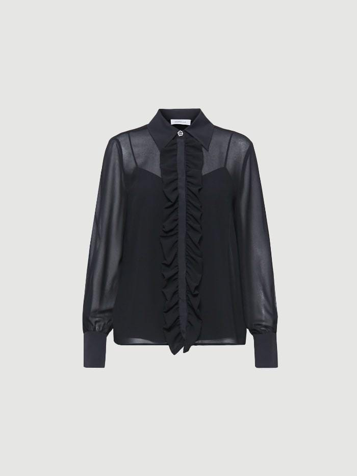 Marella Tops Marella Texas Ruffled Black Shirt izzi-of-baslow