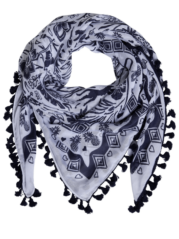 Oui Accessories One Size Oui Navy blue and White Scarf 72822 izzi-of-baslow