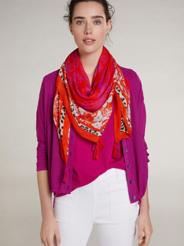 Oui Accessories One Size Oui Red Printed Scarf 73038 izzi-of-baslow