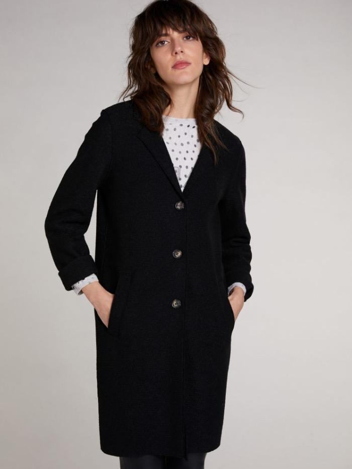 Oui Coats and Jackets Oui Boiled Wool Coat Black 70901 9990 izzi-of-baslow