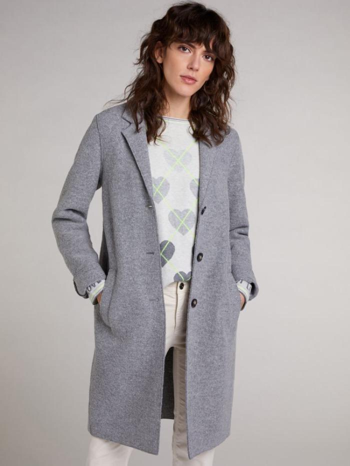 Oui Coats and Jackets Oui Boiled Wool Coat Grey 70901 9507 izzi-of-baslow