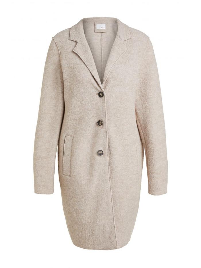 Oui Coats and Jackets Oui Boiled Wool Coat Oatmeal Beige 70901 7459 izzi-of-baslow