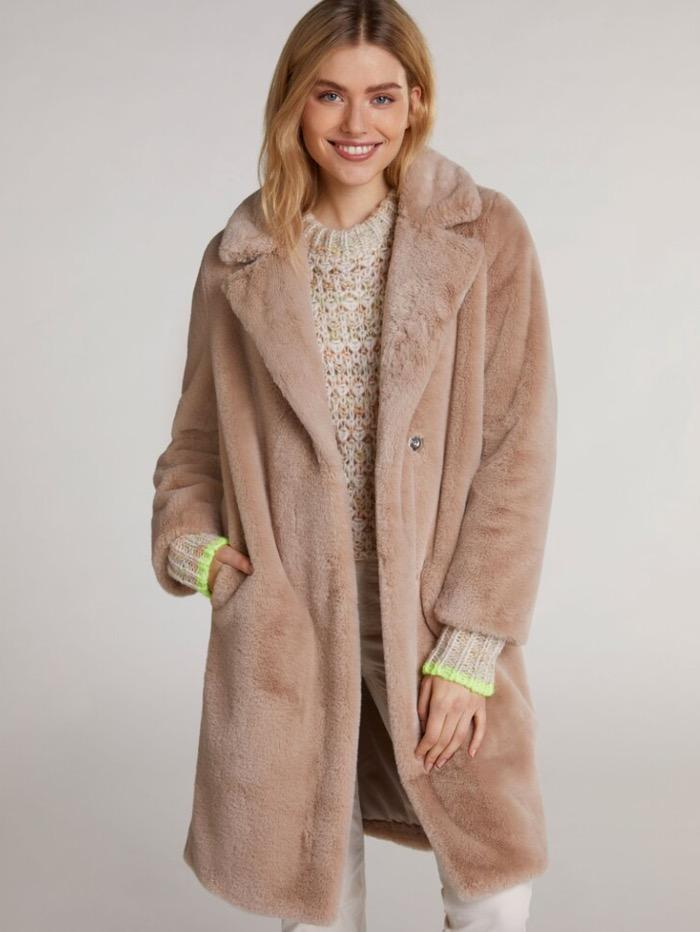 Oui Coats and Jackets Oui Vegan Fur Teddy 71454 Coat Champagne 8064 izzi-of-baslow