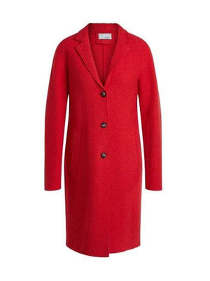 Oui Coats and Jackets Oui Wool Egg Shape Coat Red 68876 izzi-of-baslow