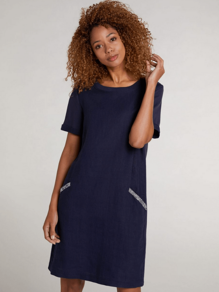 Oui Dresses Oui Blue Diamante Pocket T-Shirt Dress 73323 izzi-of-baslow