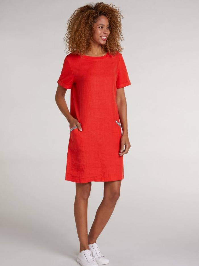 Oui Dresses Oui Fiery Red Diamante Pocket T-Shirt Dress 73323 3584 izzi-of-baslow