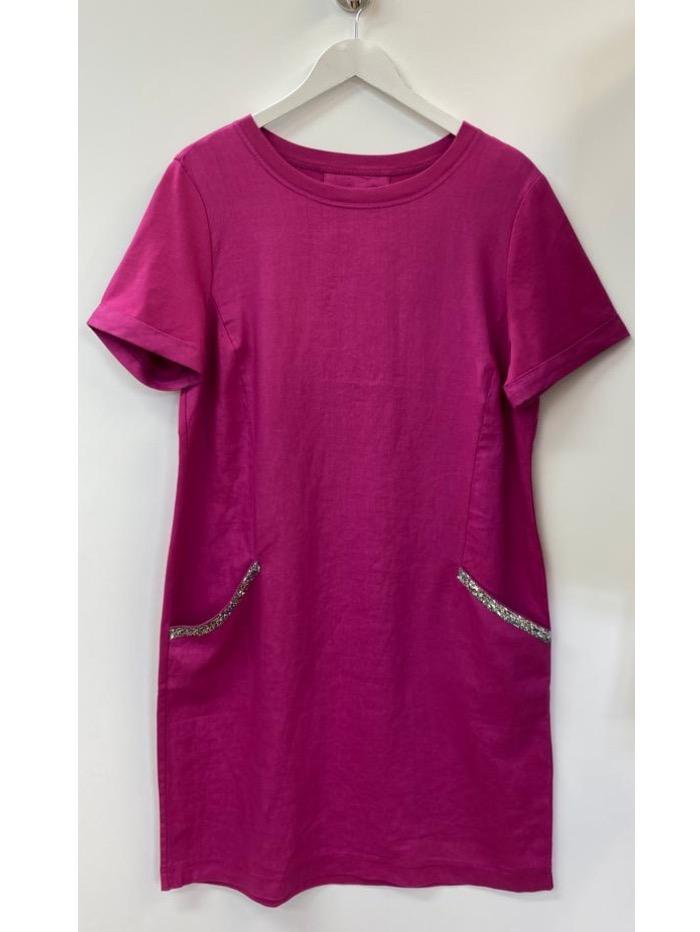 Oui Dresses Oui Pink Diamante Pocket Linen T Shirt Dress 73323 3440 izzi-of-baslow