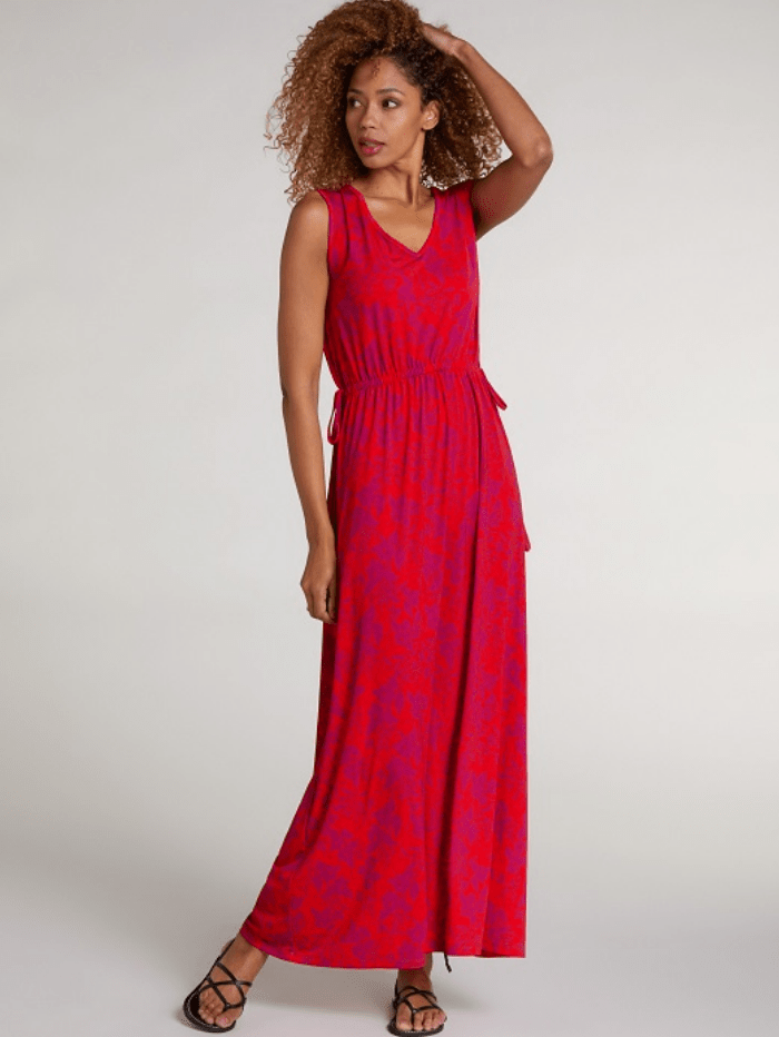 Oui Dresses Oui Red Floral Belted Maxi Dress 72890 izzi-of-baslow