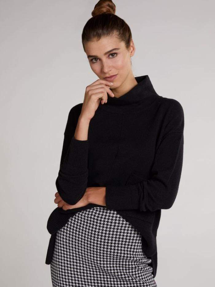 Oui Jumper Oui Black Roll Necked Sweater 70641 9990 izzi-of-baslow