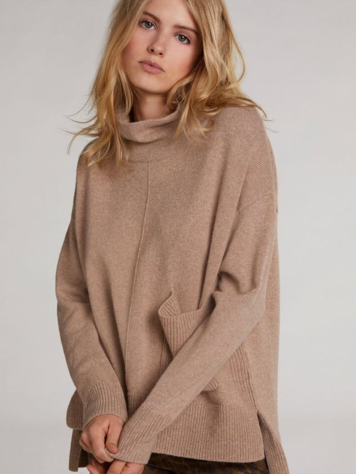 Oui Jumper Oui Camel Roll Necked Sweater 70641 7459 izzi-of-baslow