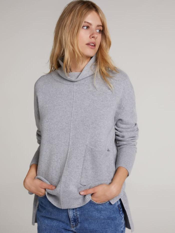 Oui Jumper Oui Classic Grey Roll Necked Sweater 70641 9283 izzi-of-baslow