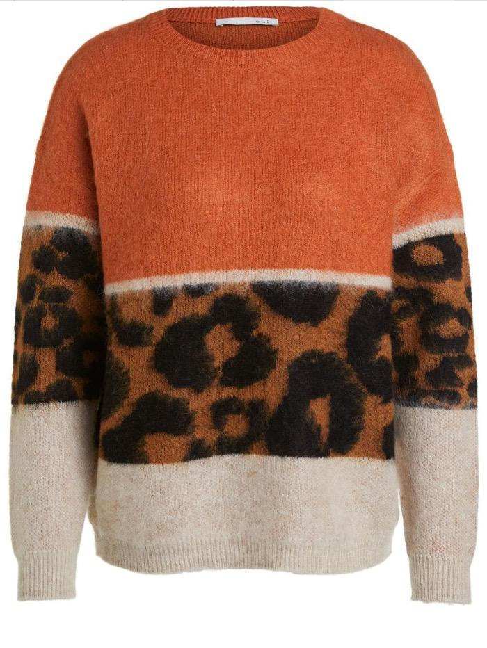 Oui Jumper Oui Printed Round Necked Sweater 70937 izzi-of-baslow